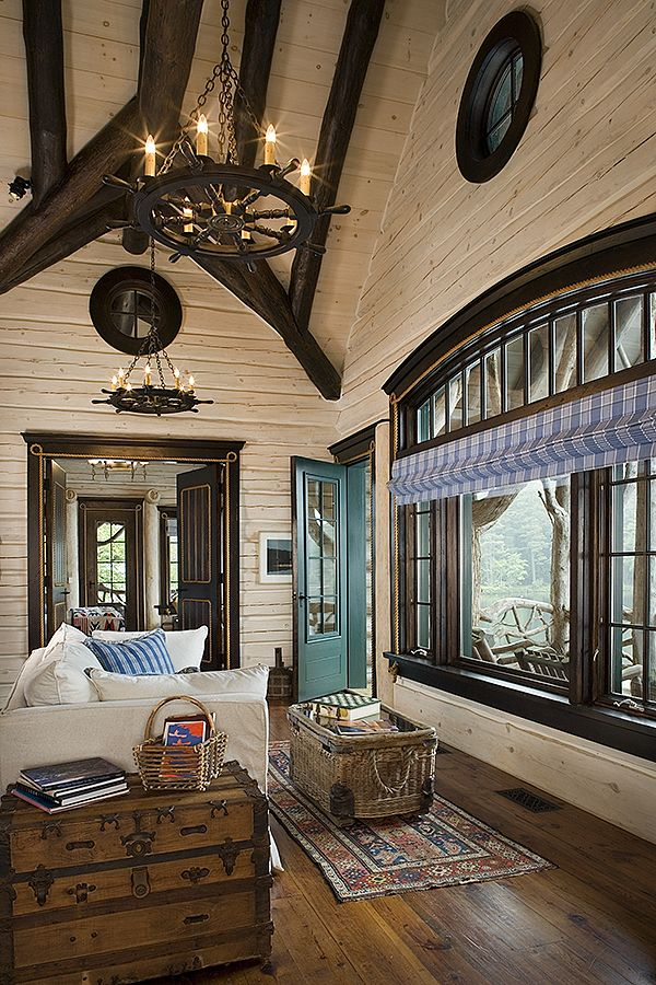 Romantic Homes Decorating: Flat Interior Log Walls With White Washed Finish And Dark