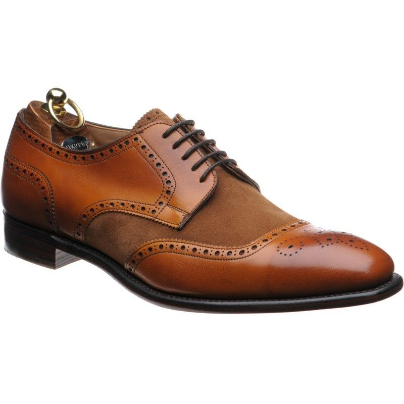 Herring Montreal two-tone brogues in chestnut calf and fox suede from  Herring Shoes