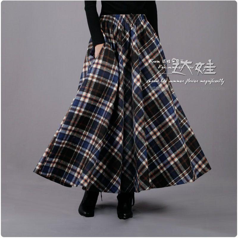 ed856392272 automne hiver laine à carreaux bleu millésime maxi jupe longue avec des  poches de taille plus musulman femmes islamiques design de la marque de ...