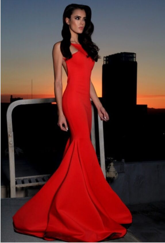 Find More Evening Dresses Information About Appealing Slim Red Long