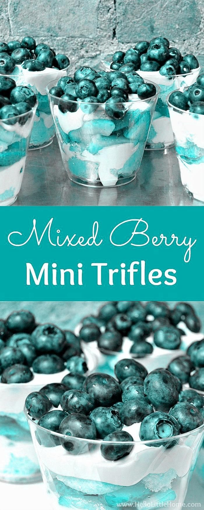 Mixed Berry Mini Trifles recipe! Learn how to make easy mini trifle desserts with layers of strawberries blueberries cream cheese filling  ladyfingers! Serve these individual trifles in glasses or jars. This no bake treat is a great red white and blue dessert for the 4th of July or Memorial Day or serve these layered berry trifles for any occasion! | Hello Little Home #trifle #triflerecipe #minidessert #minitrifle #individualtrifle #berrytrifle #redwhiteandblue #strawberries ... right manner and