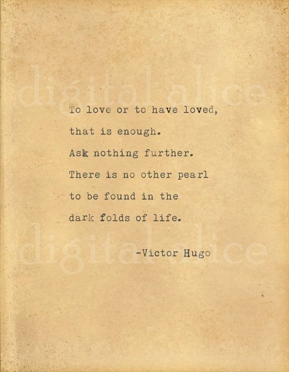 VINTAGE TYPEWRITER PRINT Victor Hugo Love Quote -Wall Art Instant ...