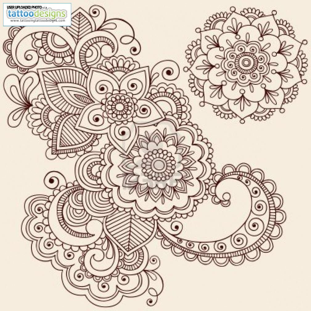 Higher Resolution Hand Drawn Intricate Abstract Flowers And Mandala Mehndi Henna Tattoo Paisley Doodle Illustration