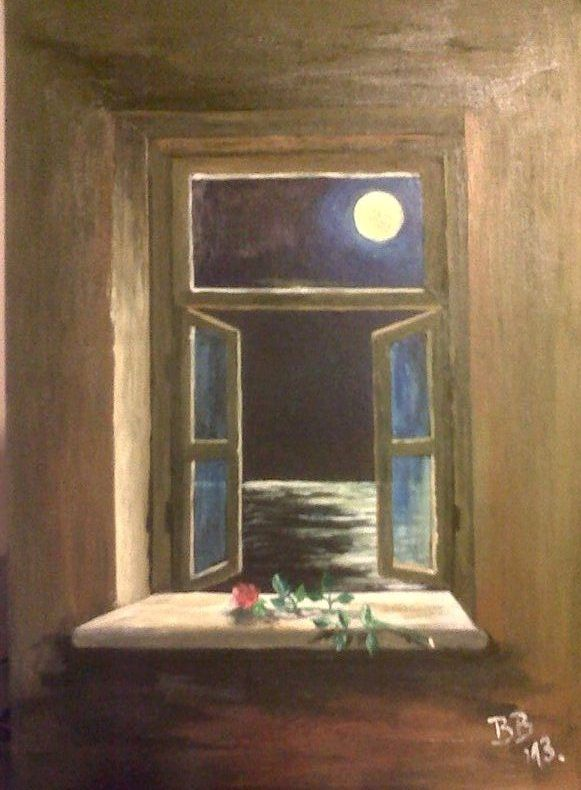 Looking Through An Open Window Full Moon Under The Sea Acrylic 20 X 30 Cm By Biljana Bodul Sulu Boya Sultan