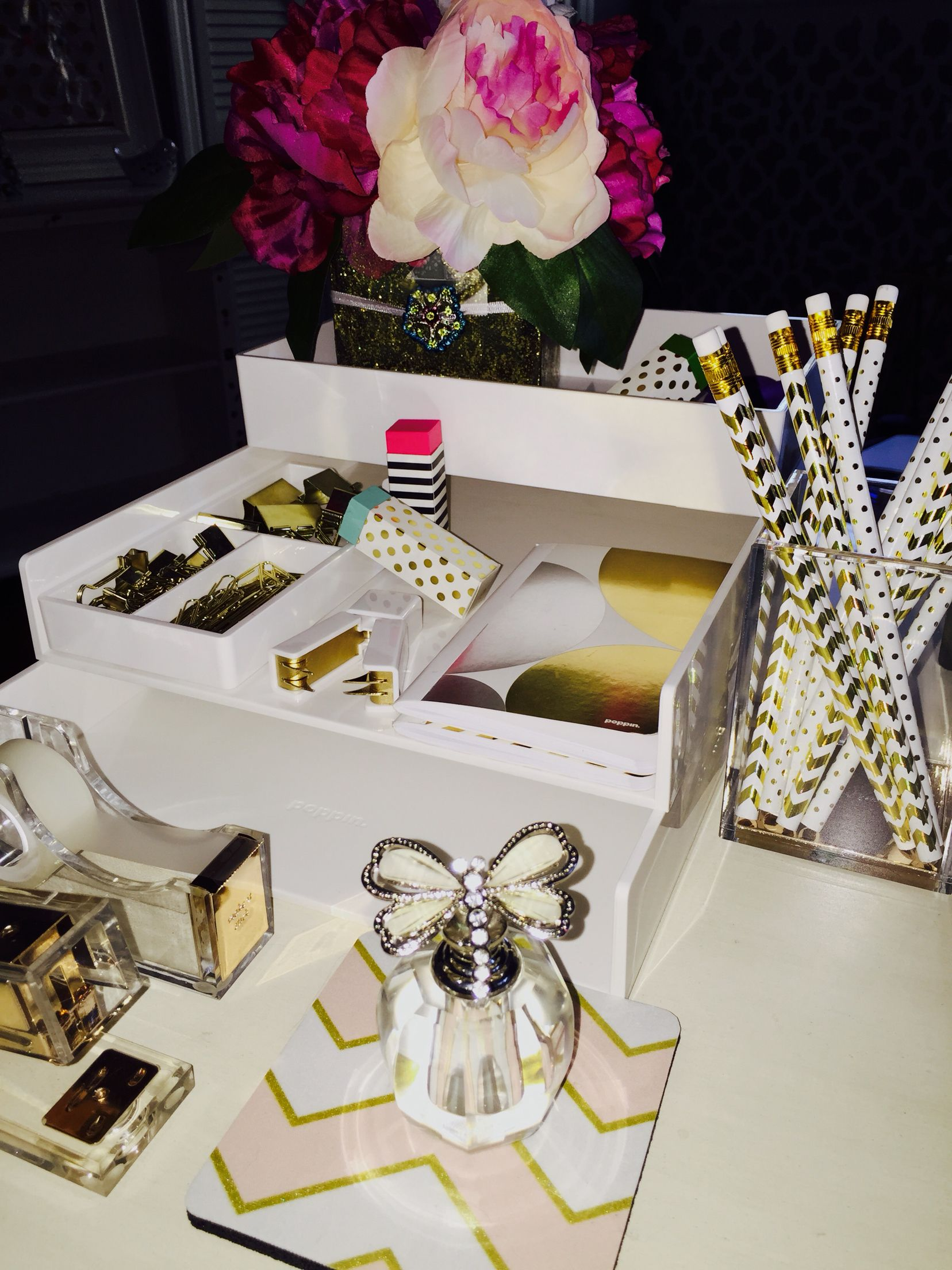office pin gold accessories acrylic set lucite organization modern white mirrored desk and