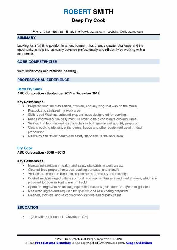 fry cook resume samples  qwikresume  job hunting