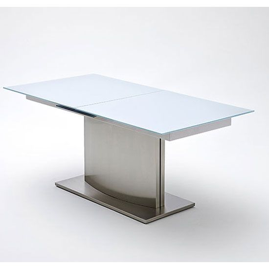 Frosted glass dining table Etched Glass Memory Extending White Frosted Glass Dining Table 160 To 200 Cm Pinterest Memory Extending White Frosted Glass Dining Table 160 To 200 Cm
