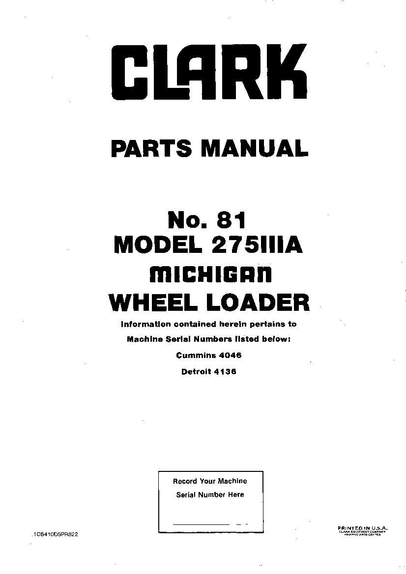 MICHIGAN 275IIIA 81 WHEEL LOADER Parts Manual PDF Download