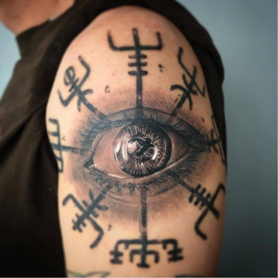 Realistic eye tattoo made at high society tattoo studio vegvisir realistic eye tattoo made at high society tattoo studio vegvisir highsociety vikingcompass viking symbol realistic blackandgrey buycottarizona Choice Image