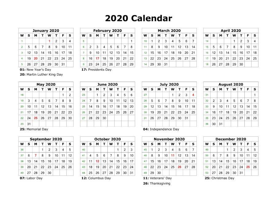 2020 Calendar Template With Holidays Printable Di 2020
