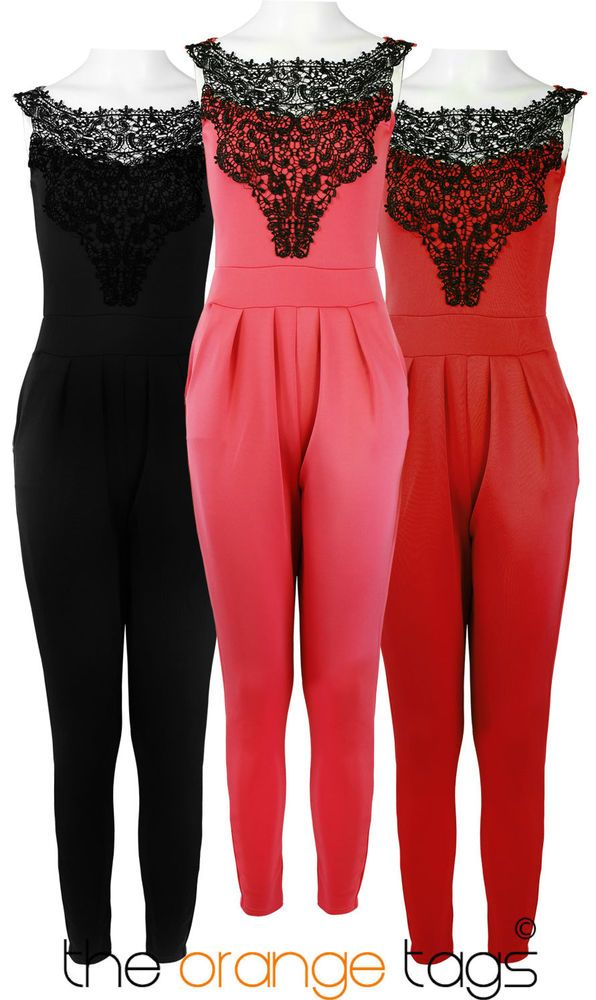 NEW LADIES LACE NECK LONG TROUSER DRESS ALL IN ONE JUMPSUIT WOMENS PLAYSUIT in  Clothes 235126957