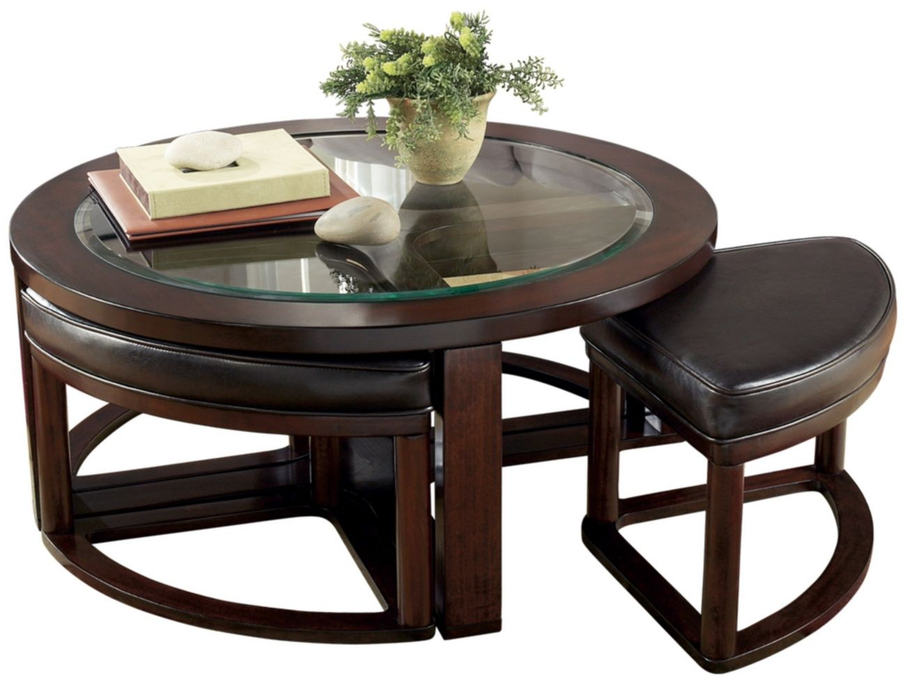 Signature Design Marion Cocktail Table W 4 Stools Ashley Furniture T477 8 Brown Coffee Table Coffee Table Round Coffee Table [ 980 x 1300 Pixel ]