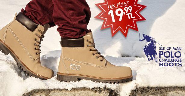 Başarılı erkek kreasyonuyla gönülleri feth eden Polo Challenge bu kez botlarıyla karşınızda. Birbirinden şık ve sağlam Polo Challenge Botlar bu kış ayaklarınızı cebinizi yakmadan ısıtacak!