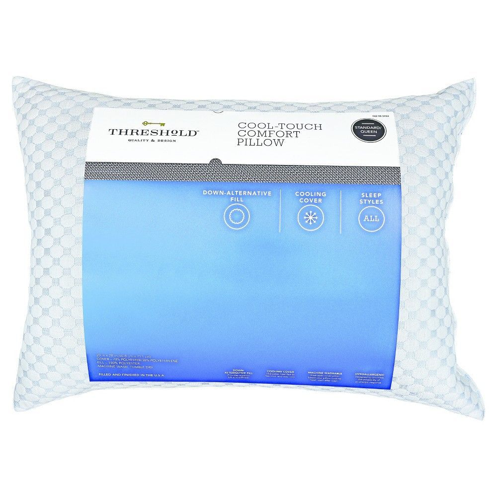 Cool Touch Comfort Bed Pillow Standard Queen White Threshold