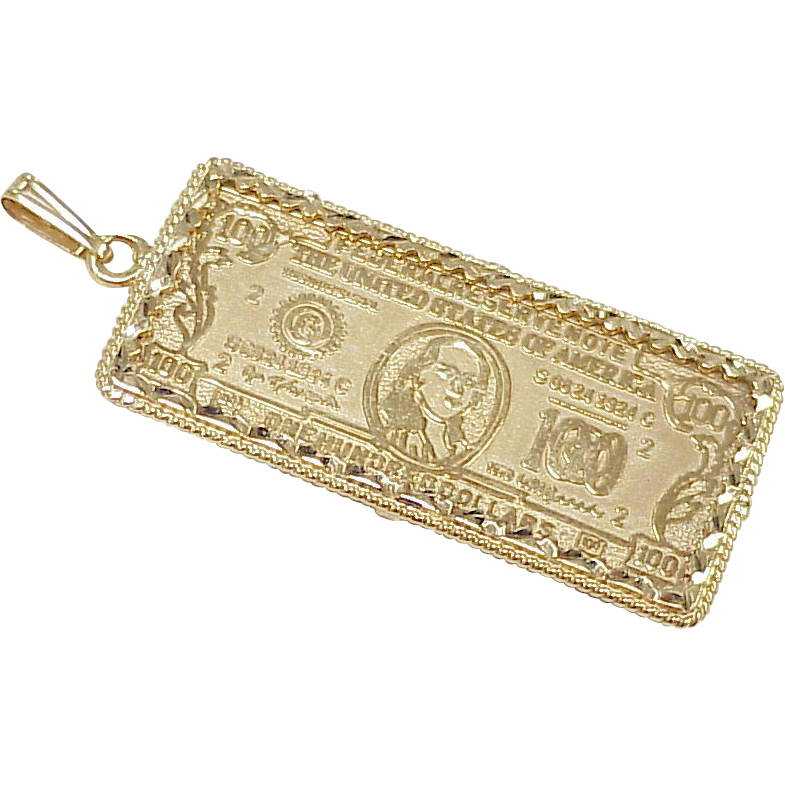 Vintage 14k gold large charm pendant 100 dollar bill vintage 14k gold large charm pendant 100 dollar bill mozeypictures Gallery