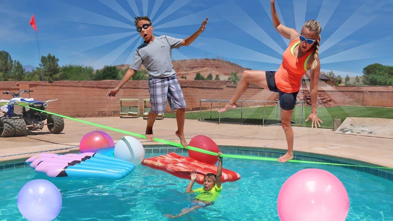 Giant Balloon Wubble Bubble Slack Line Swimming Pool Challenge
