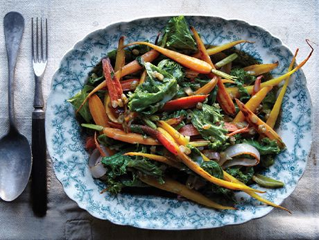 Carrots and Greens with Dilly Bean Vinaigrette Recipe    Epicurious.com