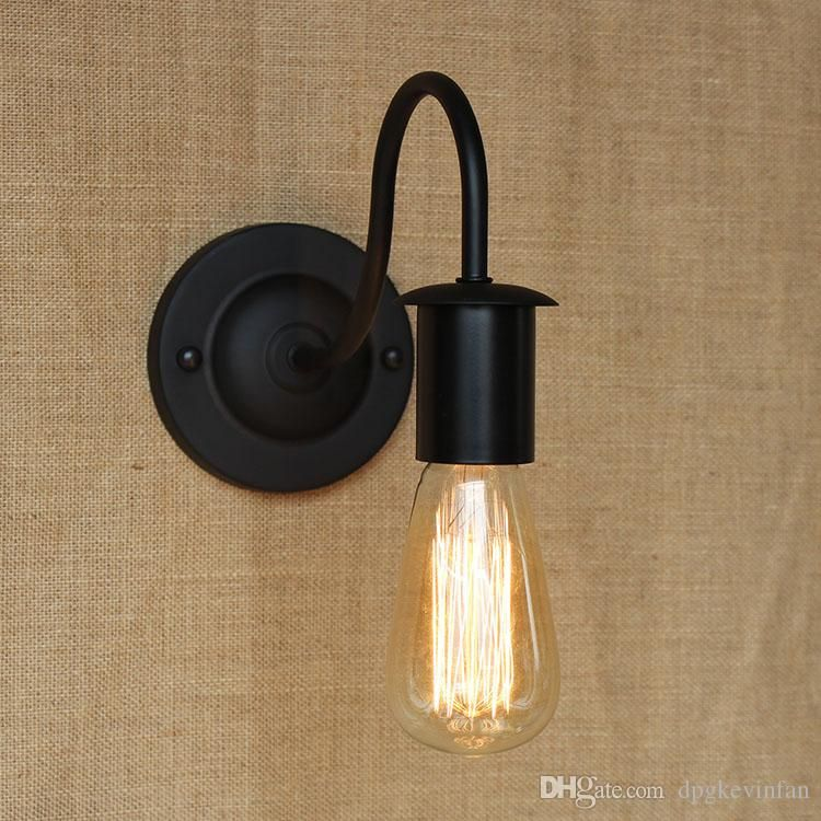 Vintage iron wall lamp without shade edison bulb short and long vintage iron wall lamp without shade edison bulb short and long section e27 wall light bedroom mozeypictures Gallery