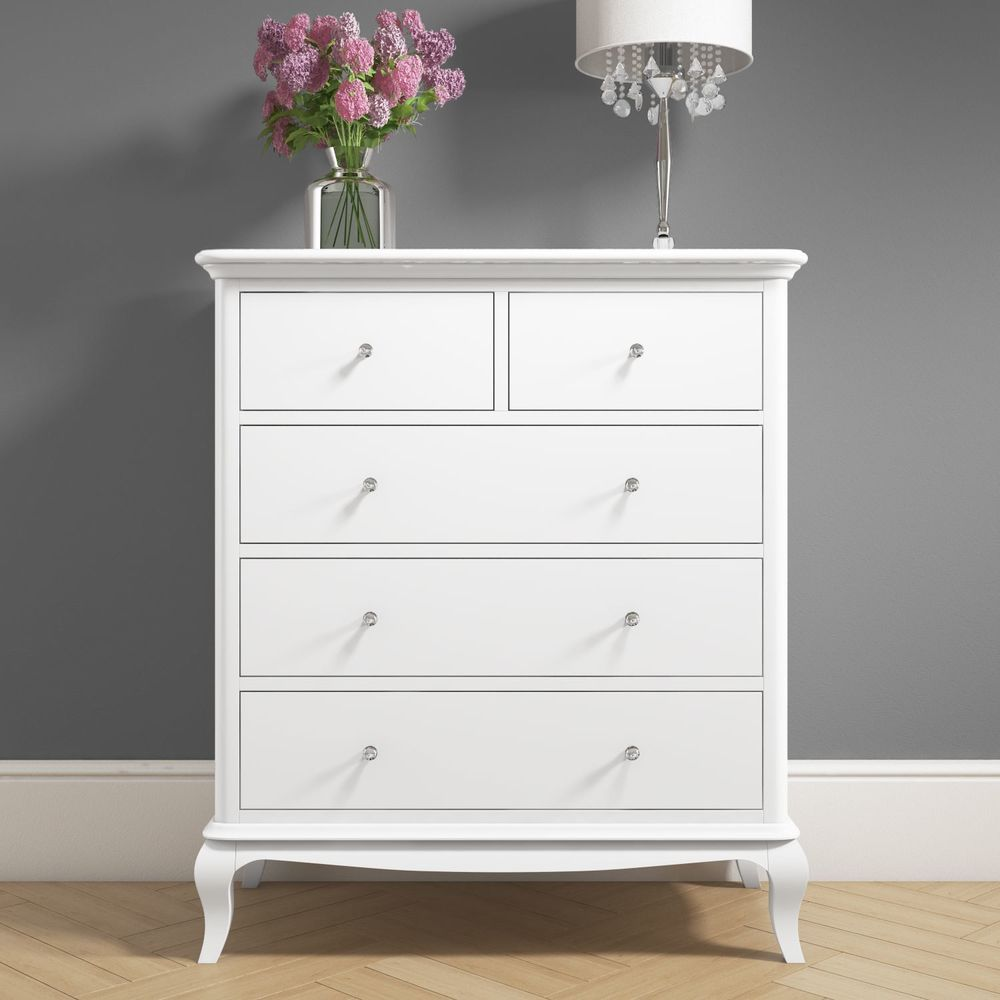 5 drawer chest storage cabinet white solid pine finish wooded bedroom furniture