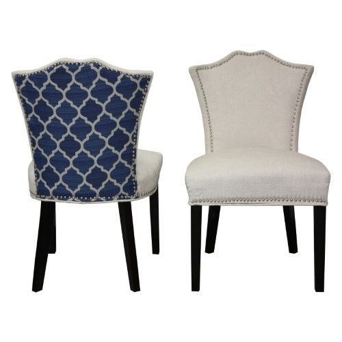 Hd Couture 2 Tone Sweetheart Chair Set Of 2 Dining Chairs White Dining Chairs Patterned Dining Chairs