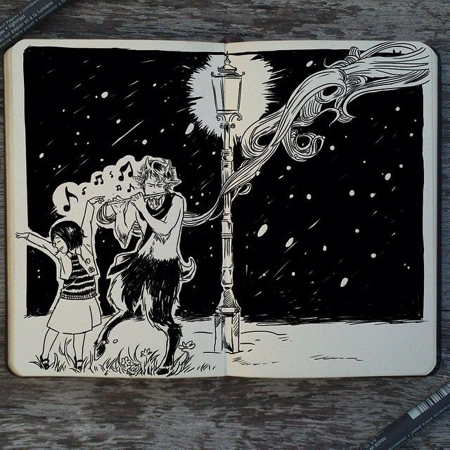 I'll never forget the first time I read The Chronicles of Narnia :) #241 A Song to Narnia #art #drawing #illustration #design #graphicdesign #manga #moleskine #ink #narnia #book #tumnus #lucy #traditional #lamp #nostalgia #sketch #sketchbook #brazil #artist