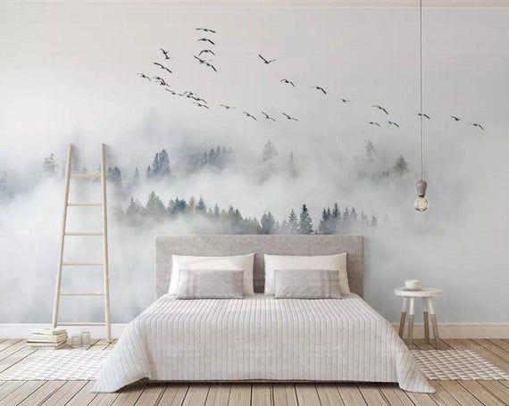 Photo of 3D Träume, Wolken, Wälder, Vögel Wallpaper, abnehmbare selbst selbstklebende Tapete, Fototapeten, Vintage Kunst, Wandverkleidung