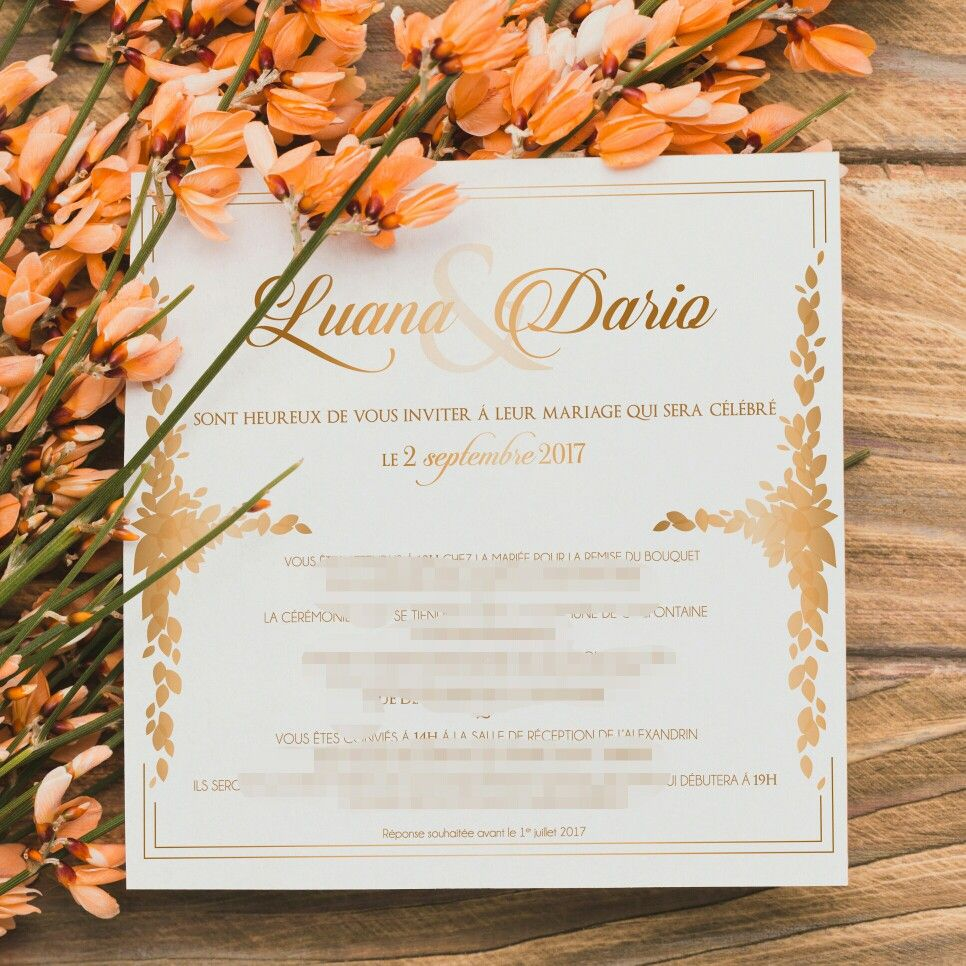 Wedding invitation  gold and white  My work  Pinterest
