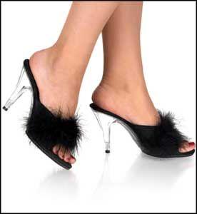 Feather Topped Acrylic Mule Fetish Shoes #BondageFetishStore #BDSM Shoes, Sexy Shoes