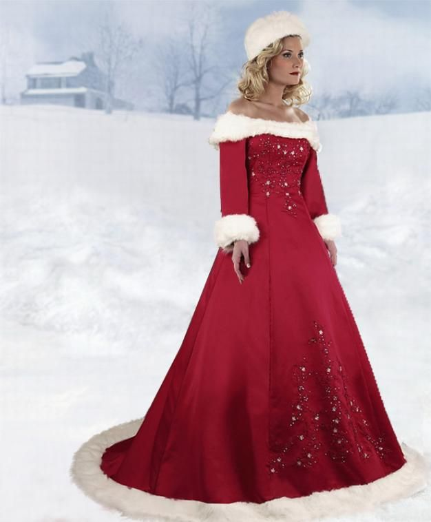 Christmas wedding dresses beautiful christmas wedding for Red winter wedding dresses