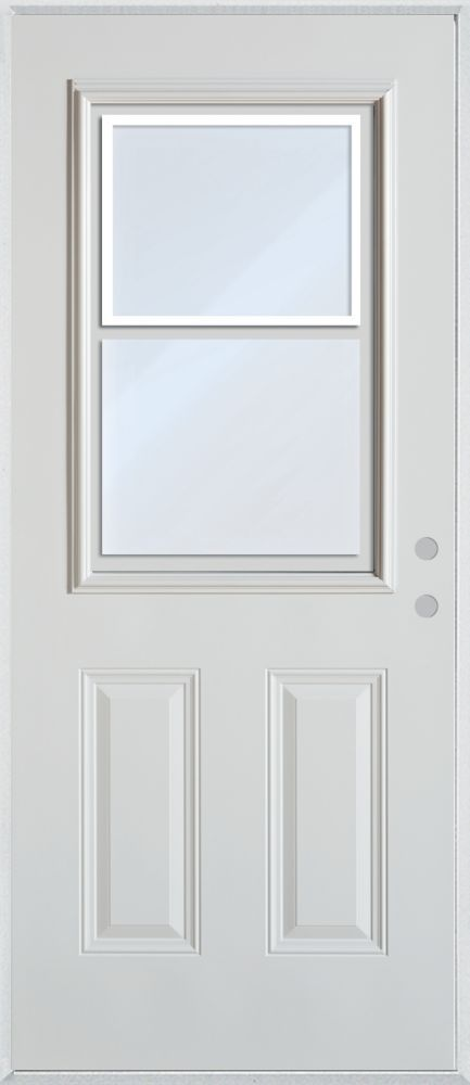 $254 Half Lite Vented 2 Panel Painted Steel Entry Door Model # 9100S S