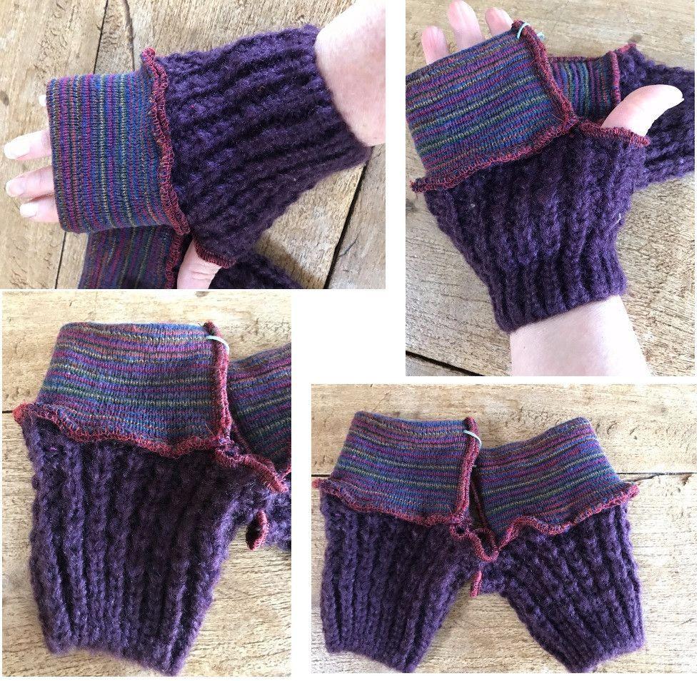 Vegan Recycled Sweater Fingerless Gloves Fingers Free Gloves