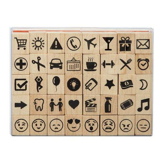 Icon  Emoji Wood Stamp Set by Recollections Icon emoji, Wood