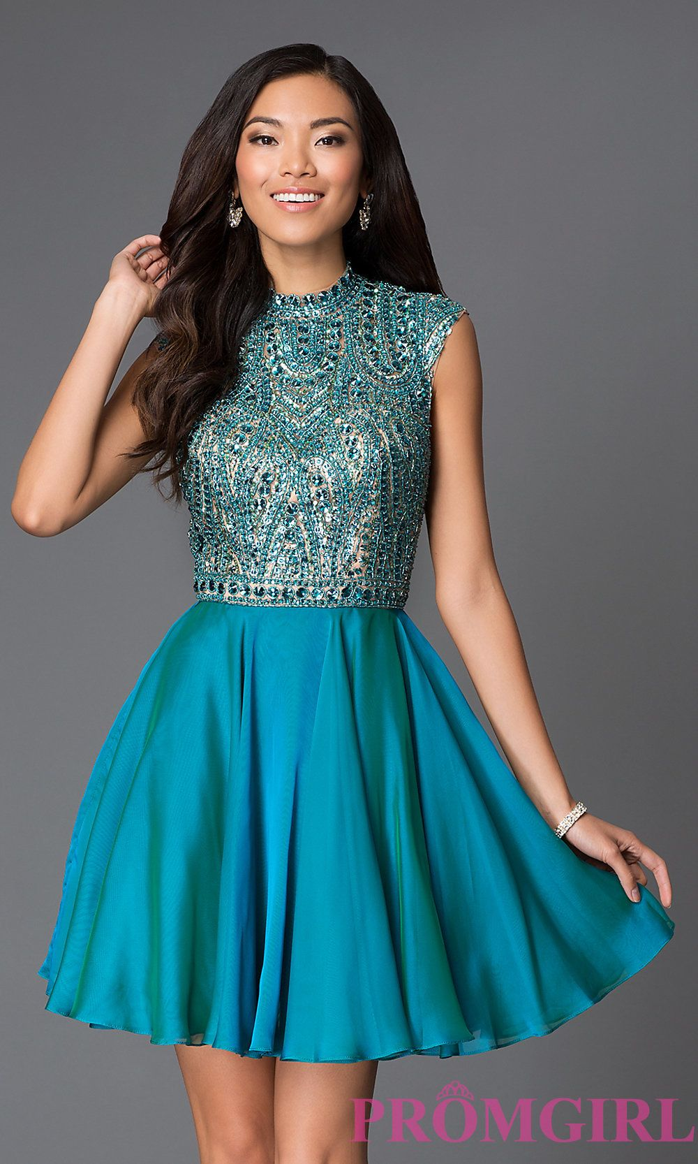 Image of short high neck beaded bodice open back layered chiffon ...