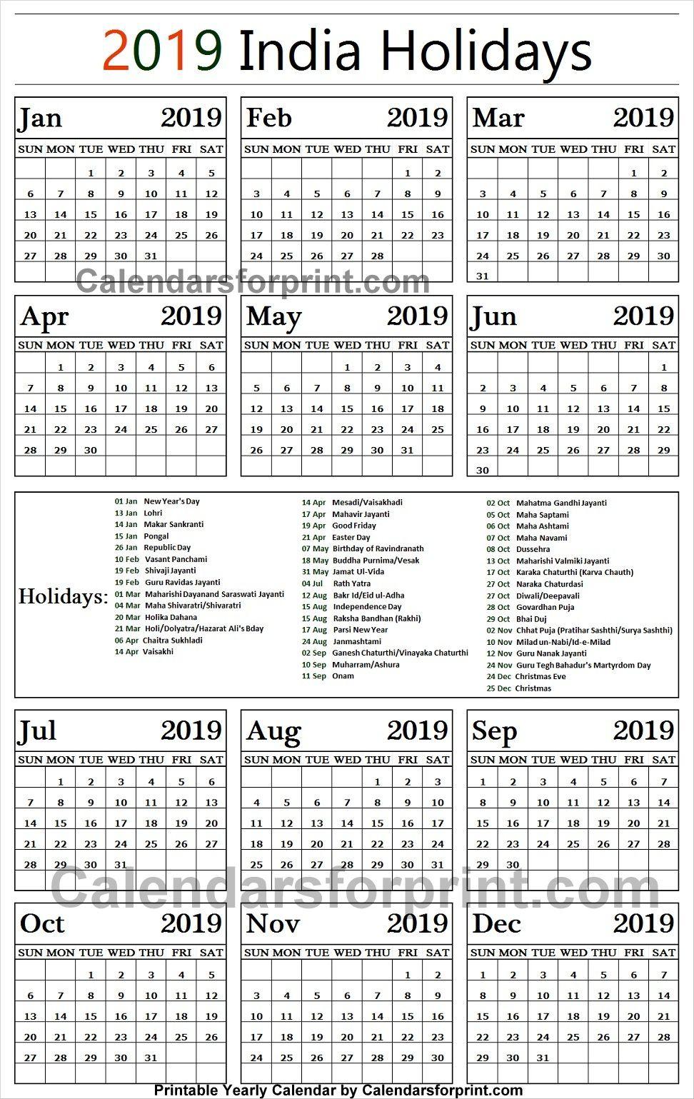 2019 Calendar With Holidays India Printable 2019