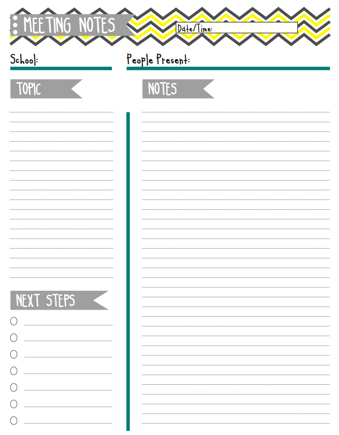 notes for meeting template