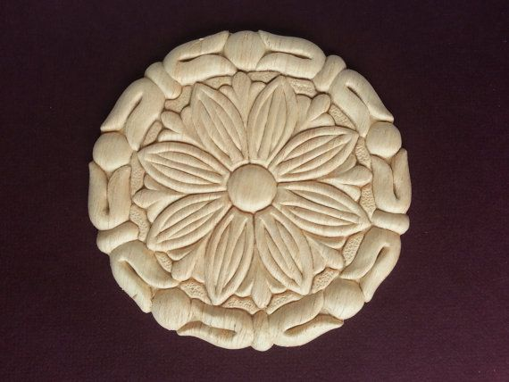 Set Of 2 Round Wood Lique Medallion Flower Embossed