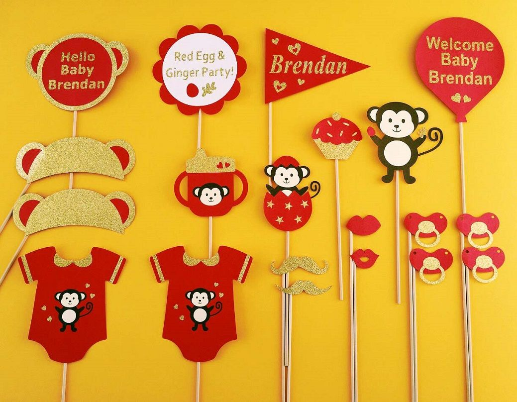 Customized Red Egg And Ginger Party Props Monkey Theme