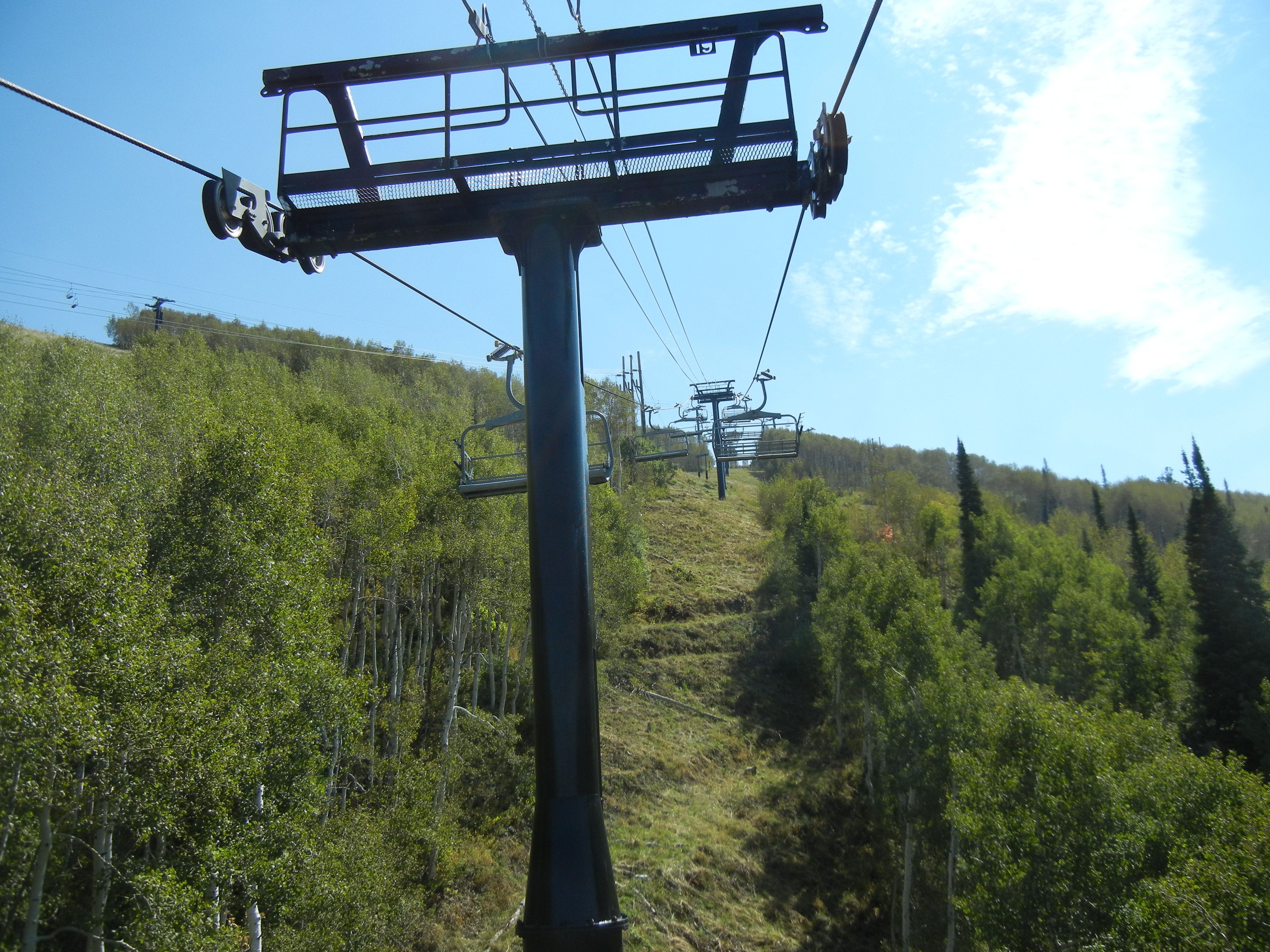 Riding on the larger chair lift at Park City Mountain Resort September 2015