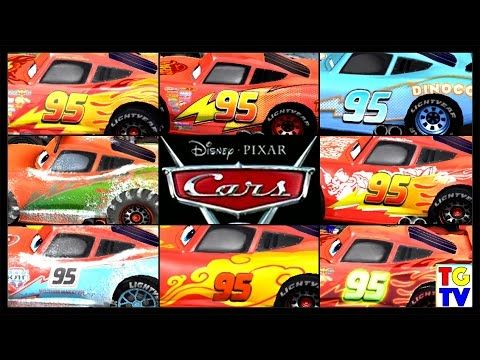 Cars Lightning Mcqueen All Paint Jobs 8 Screen Race Cars Fast As Lightning Youtube