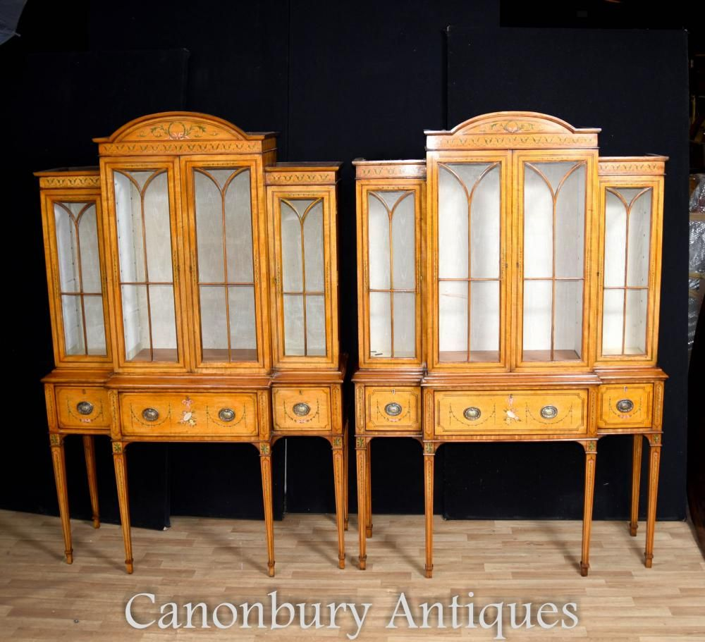 Gorgeous Pair Of Sheraton Style Display Cabinets In Satinwood Hopefully The Photos Illustrate The Museum Like Quality To This Collectab Vintich English Antique Furniture Architectural Antiques Decorative Items