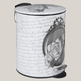 Poubelle salle de bain mathilde m d cor roses chez decoupage tableware laundry - Poubelle salle de bain rose ...