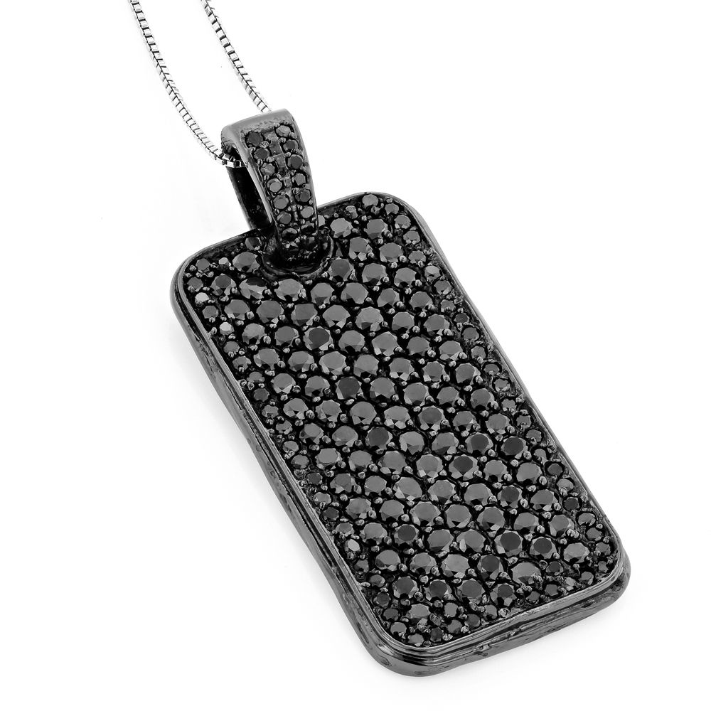 Black diamond dog tag pendant 715ct sterling silver black black diamond dog tag pendant 715ct sterling silver aloadofball Gallery