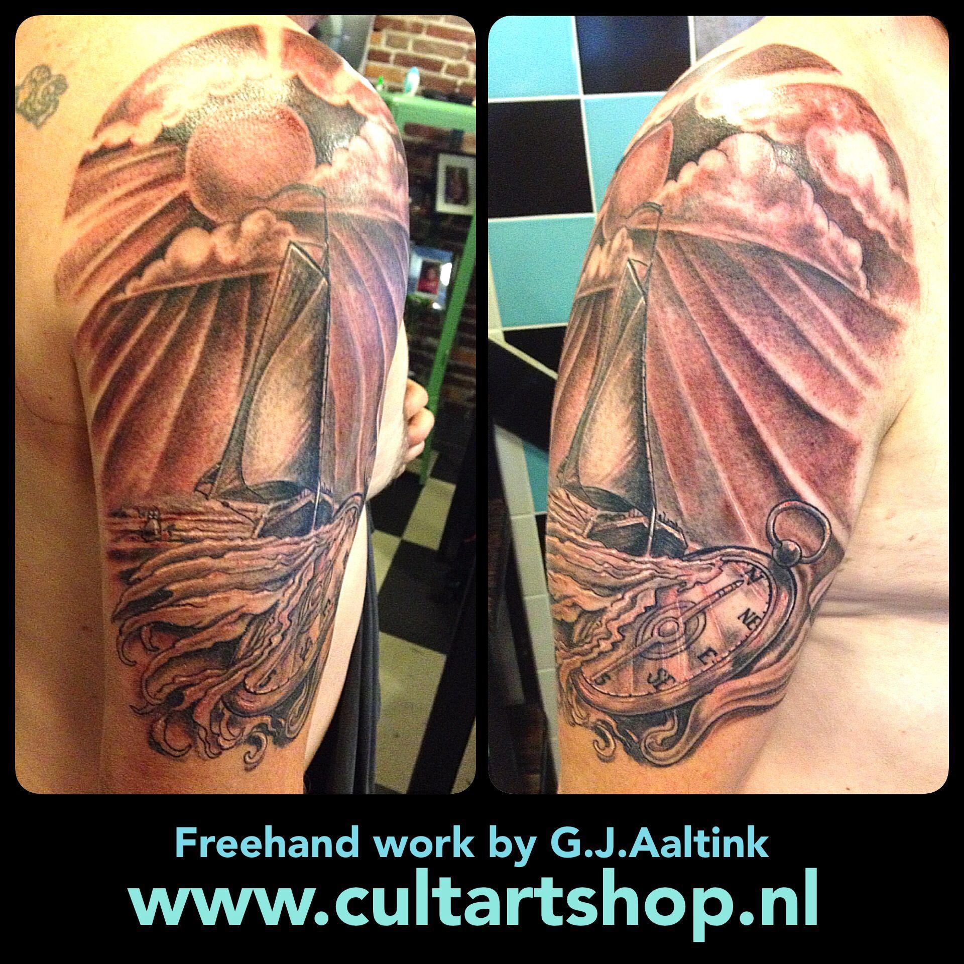 Black and Grey piece ...by gjaaltink #tattoo #ship #cult #art