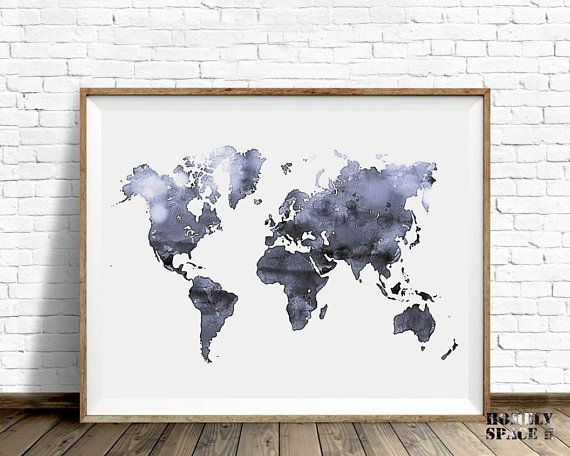 Gray world map wall art world map print gray watercolor map world gray world map wall art world map print gray watercolor map world map art map of gumiabroncs Image collections