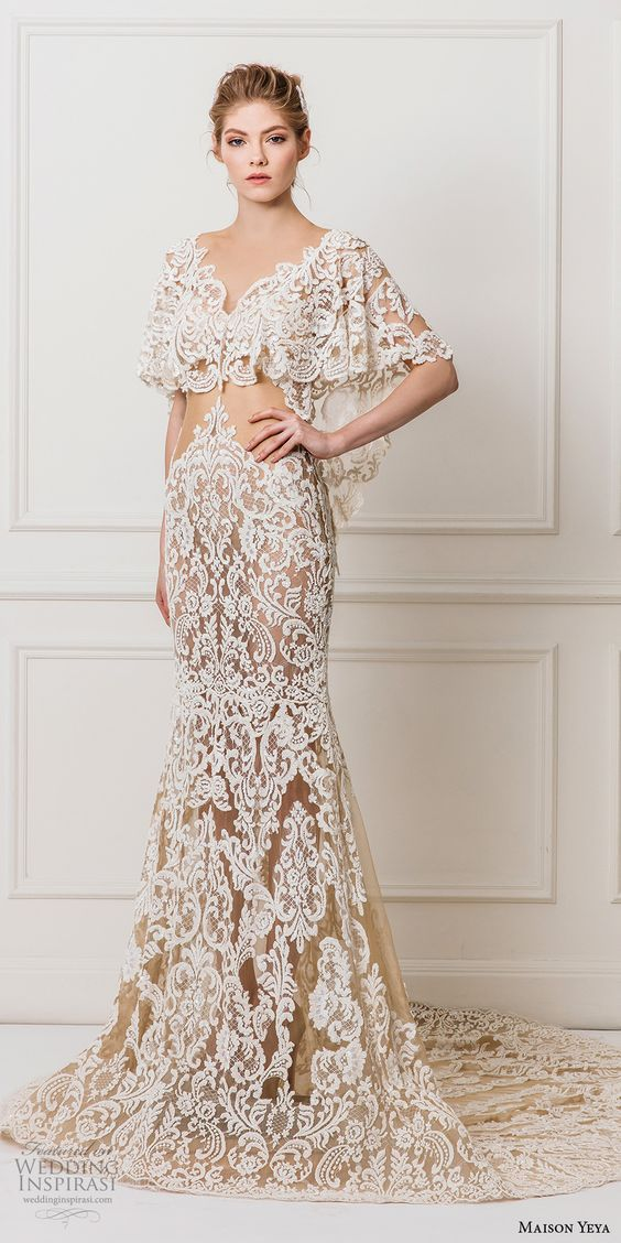 maison yeya 2017 bridal flutter sleeves v neck full embellishment elegant lace sheath wedding dress open v back chapel train (8) mv