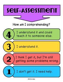 Free Student SelfAssessment Levels Of Understanding  Self