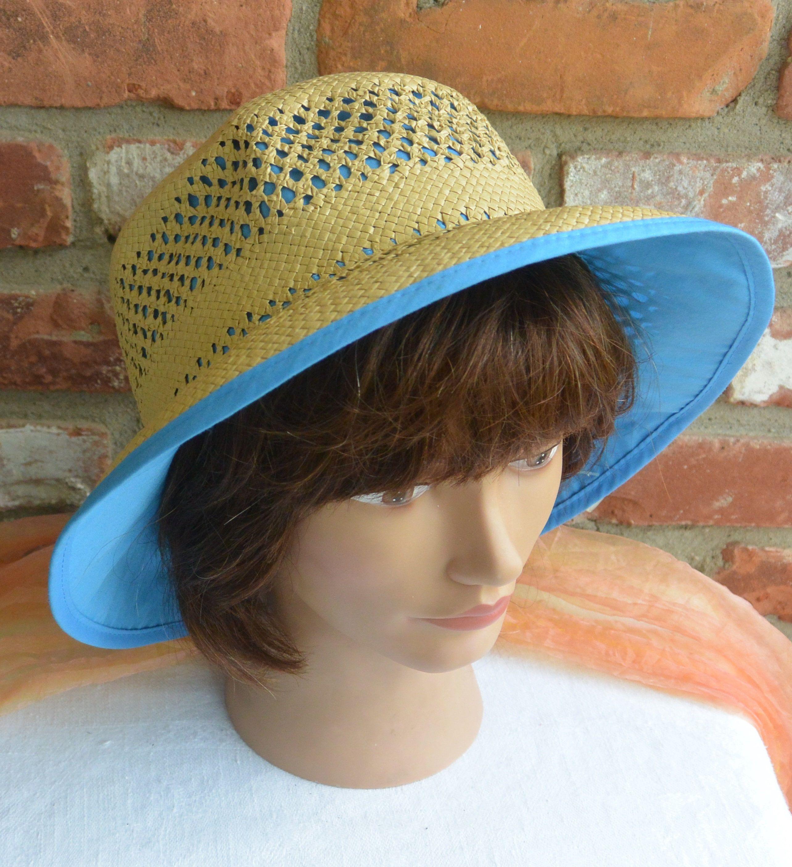 Straw Blue Hat Unused Sun Hat Gardening Hat Beach Hat