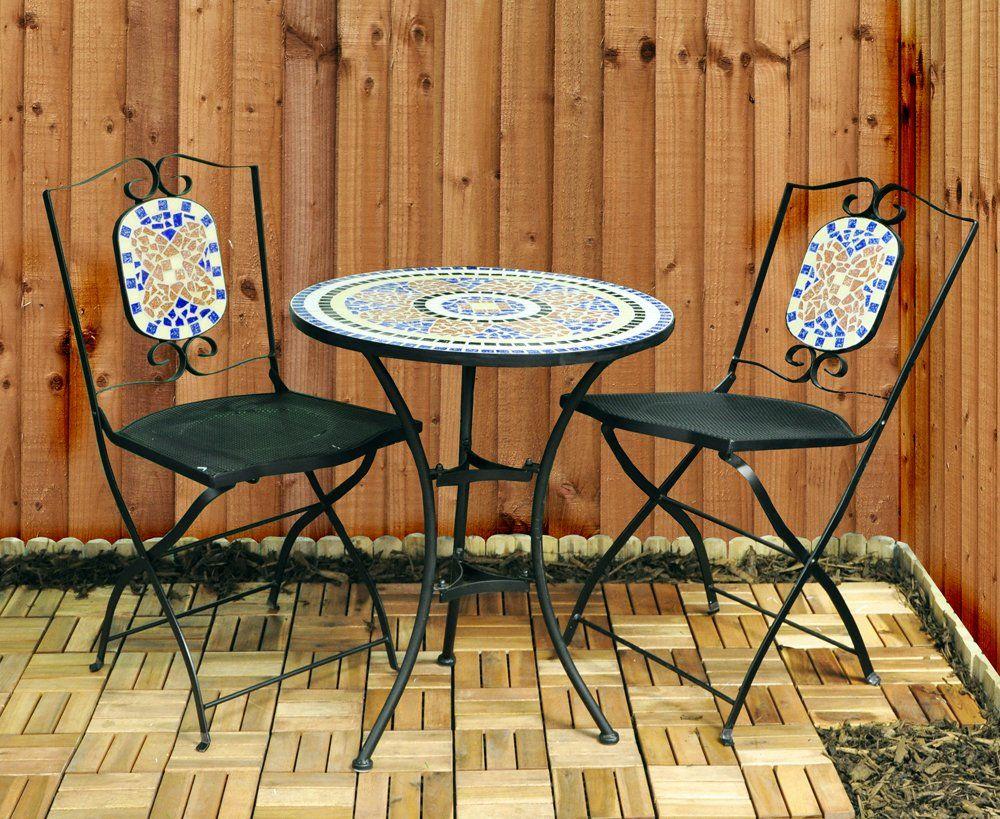 Kingfisher FSBM Mosaic Bistro Set: Amazon.co.uk: Garden & Outdoors ...