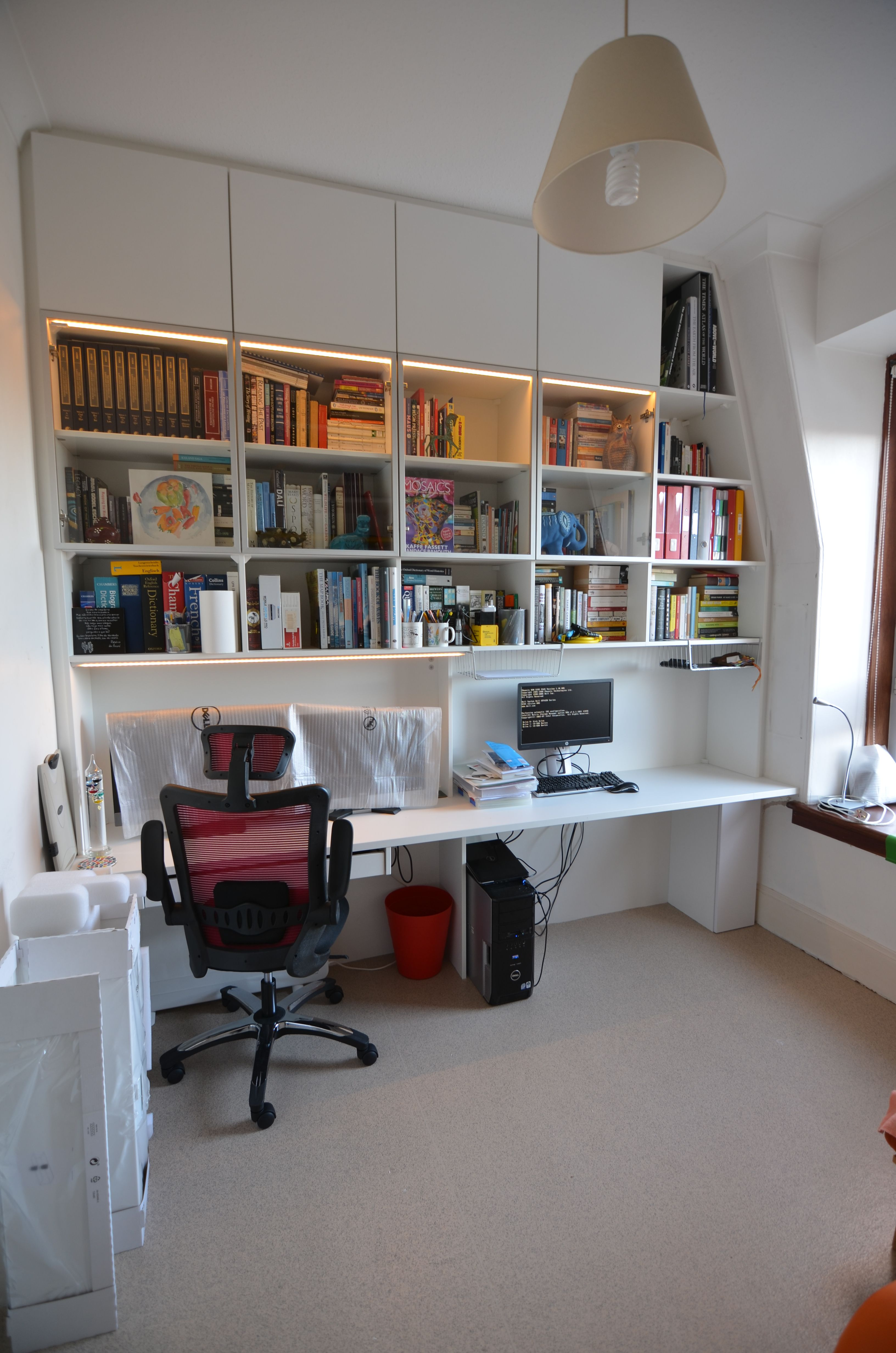 Bookshelf And Study Desk For This Home Office In White And Glass