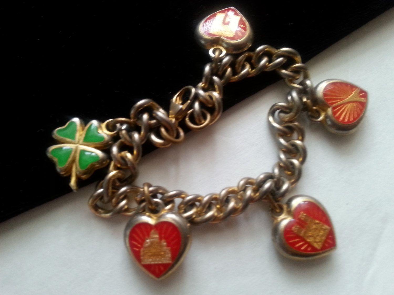 Vintage Paris Charm Bracelet * Travel Souvenir Heart Eiffel Tower Retro  Collectible * Vintage Costume Paris France Jewelry
